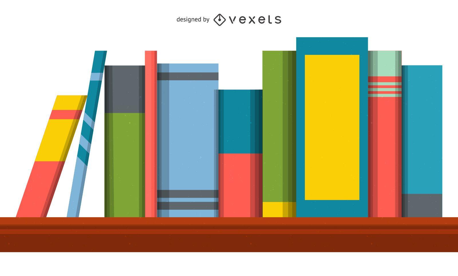 Ilustración de estantería de libros