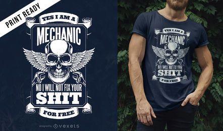 Design de t-shirt de citação de mecânico
