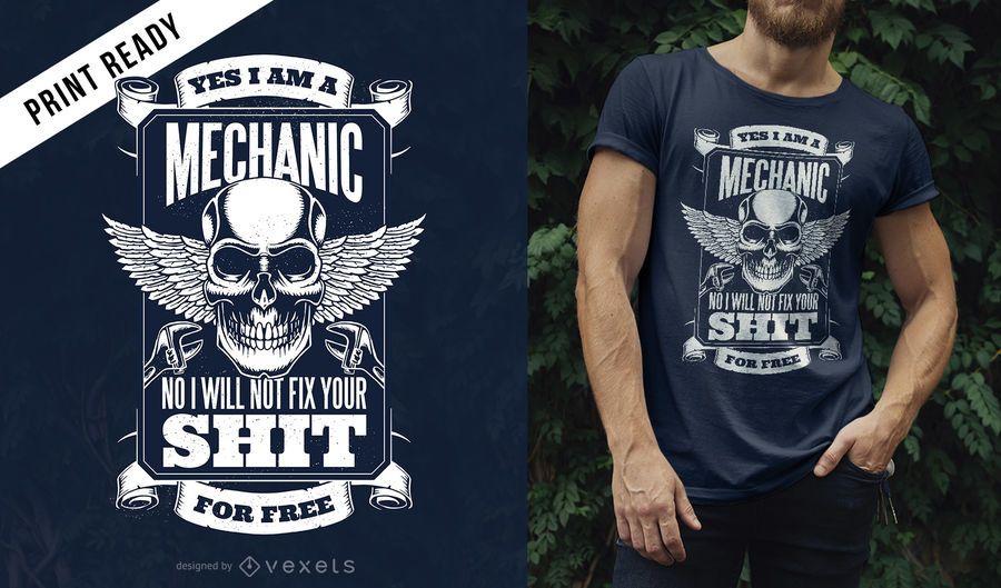 Design de camiseta com citação de mecânico
