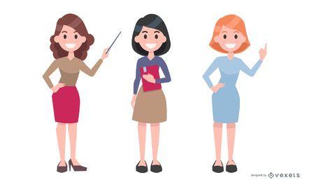 Conjunto de ilustración de profesor femenino