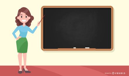 Teacher pointing at blackboard