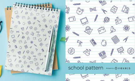 Patrón de elementos escolares de trazo fino