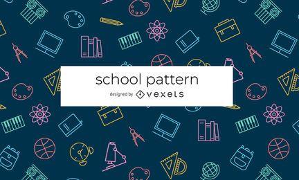 Patrón de elementos escolares de trazo