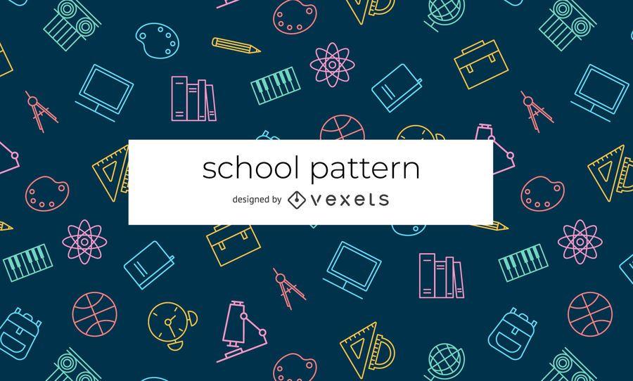 Patrón de elementos de la escuela de trazo