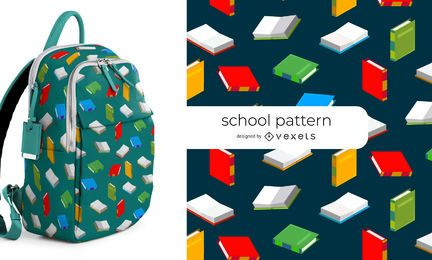 Books school seamless pattern