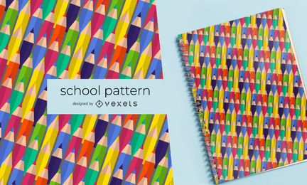 Colorful pencils school pattern