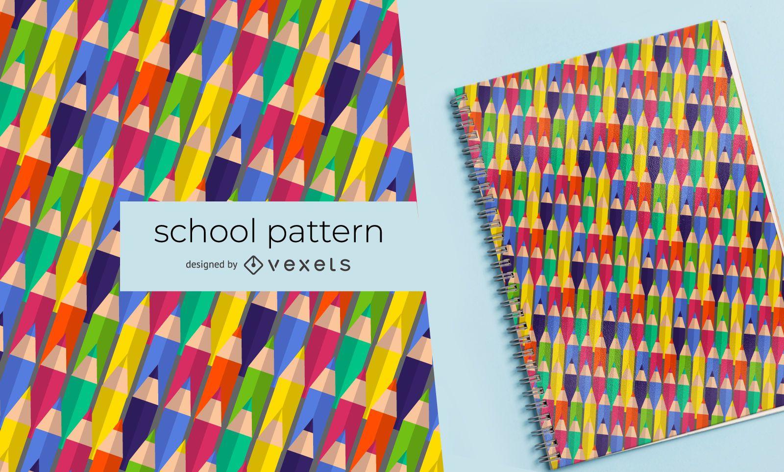Patrón de escuela de lápices de colores