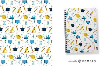 Colorful school elements pattern