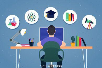 Ilustração de ícones de escola de lição de casa