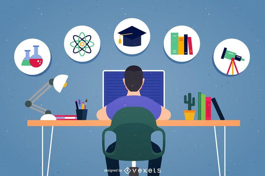 Ilustración de los iconos de la escuela de tarea - Descargar vector