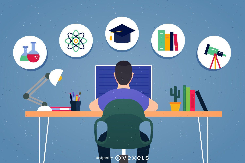 Homework school icons illustration