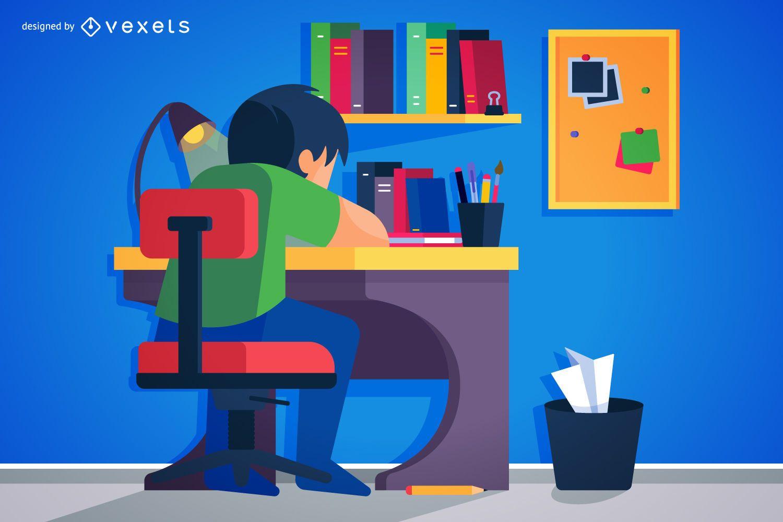 Kid doing homework illustration