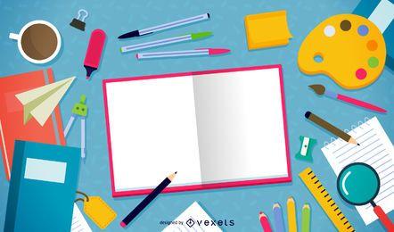 Ilustração de elementos de lição de casa dispersas