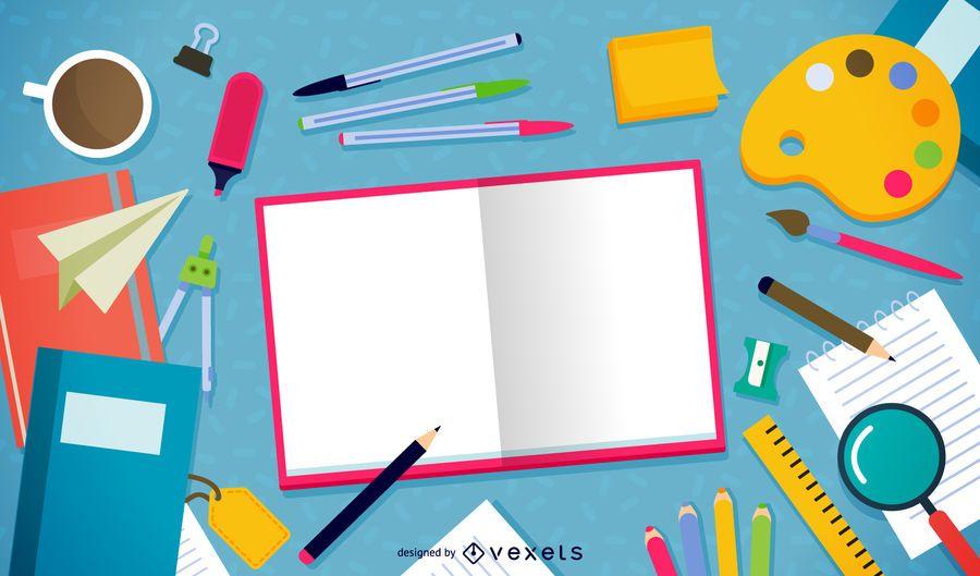 Scattered homework elements illustration