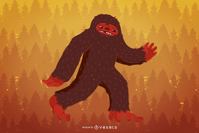 Ilustración de personaje de Bigfoot