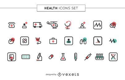 Conjunto de ícones de saúde de acidente vascular cerebral