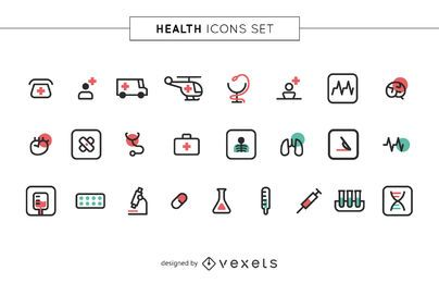 Stroke health icons set