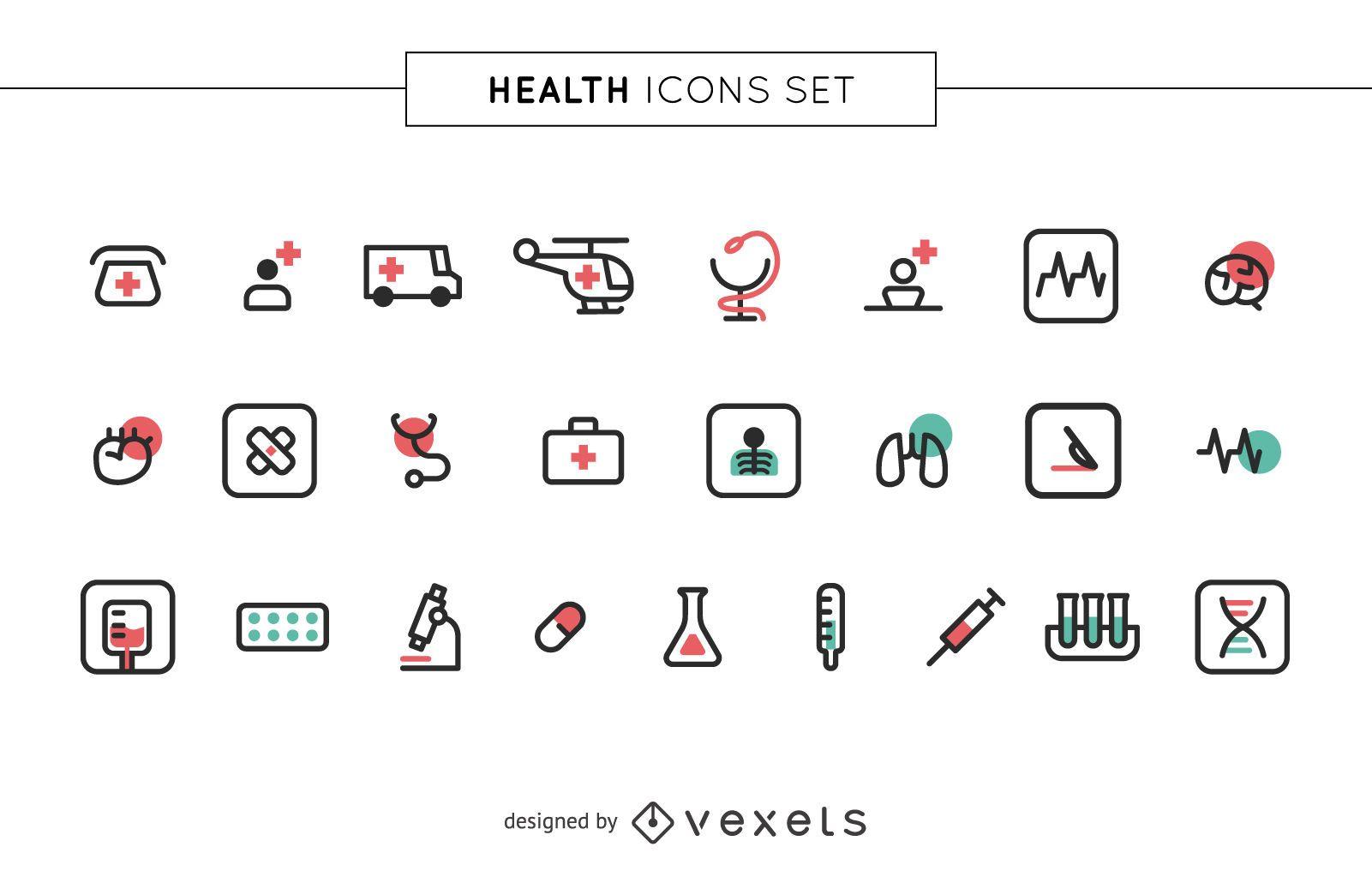 Stroke health icons set