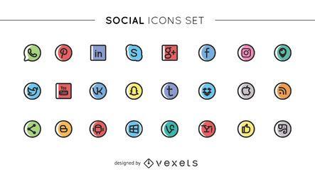 Coleção de ícones de mídia social fofa