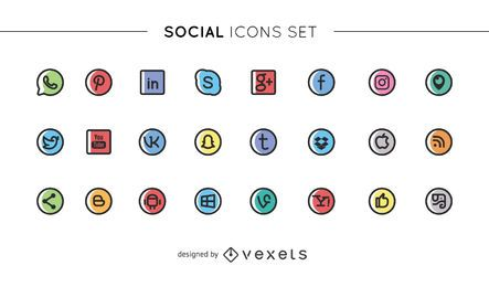 Cute Social Media Icons Collection