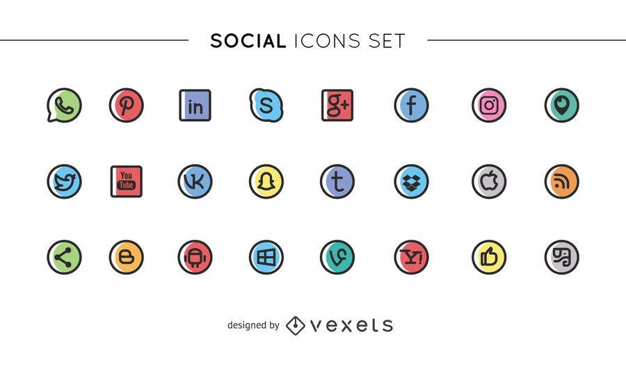 Linda colección de iconos de redes sociales