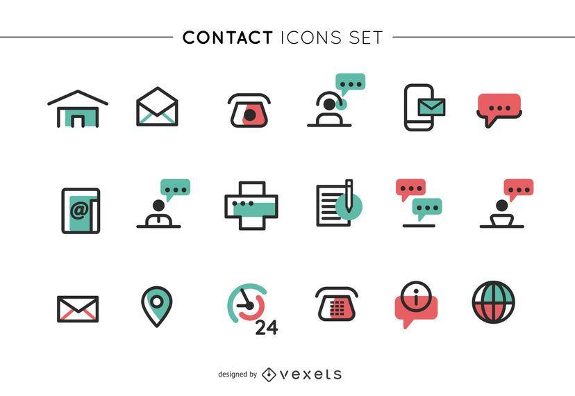 Conjunto de iconos de contacto de cigüeña