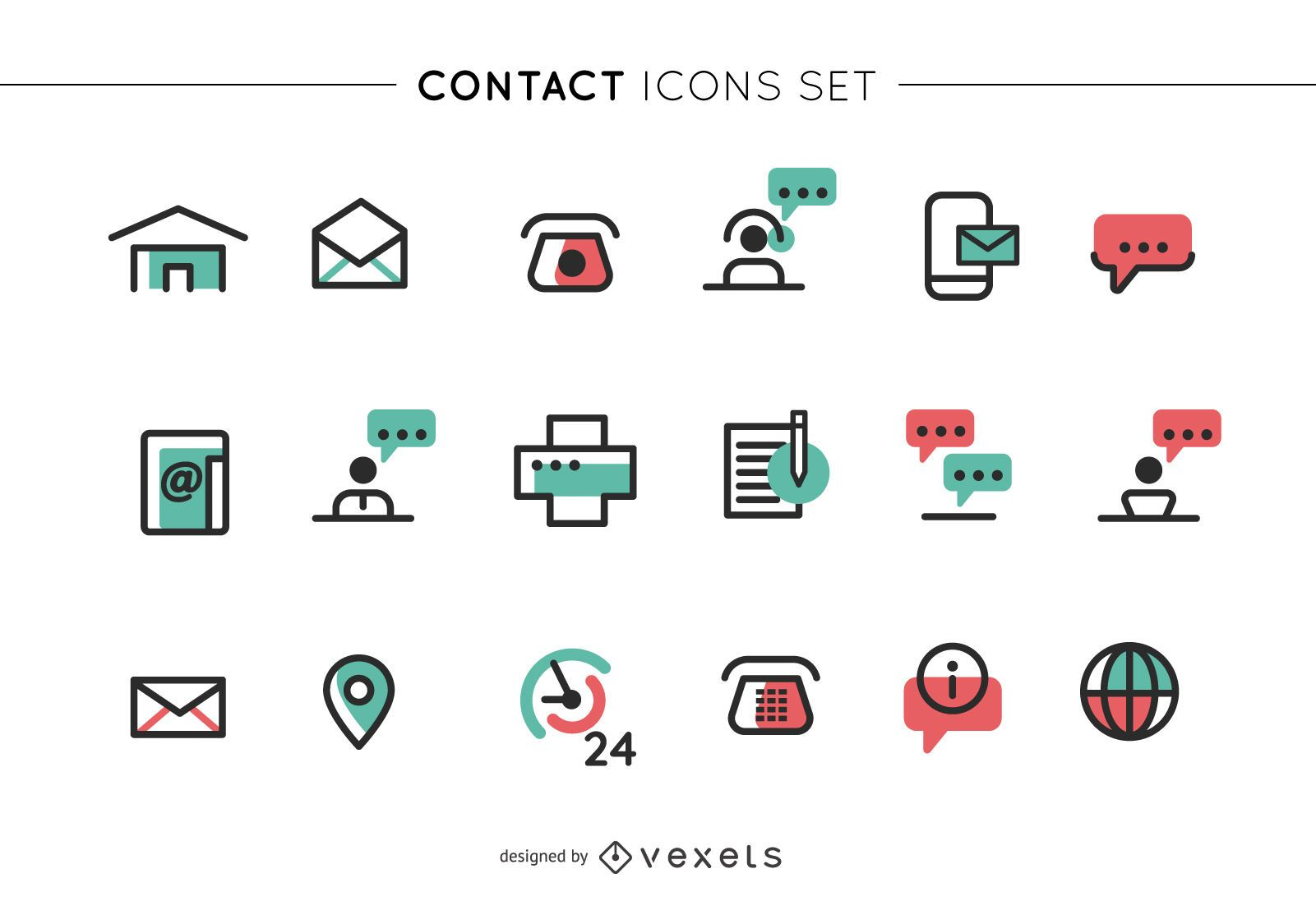 Storke contact icons set