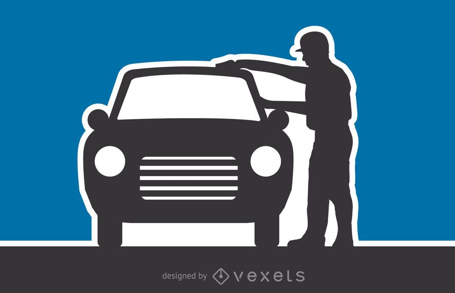 Car Wash Silhouette Vector Illustration