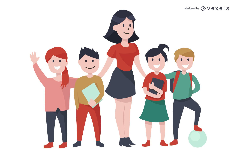 Ilustração de personagens de crianças e professores