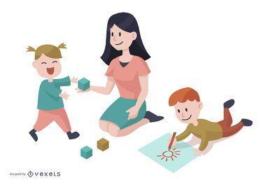 Desenhos animados de personagens do jardim de infância