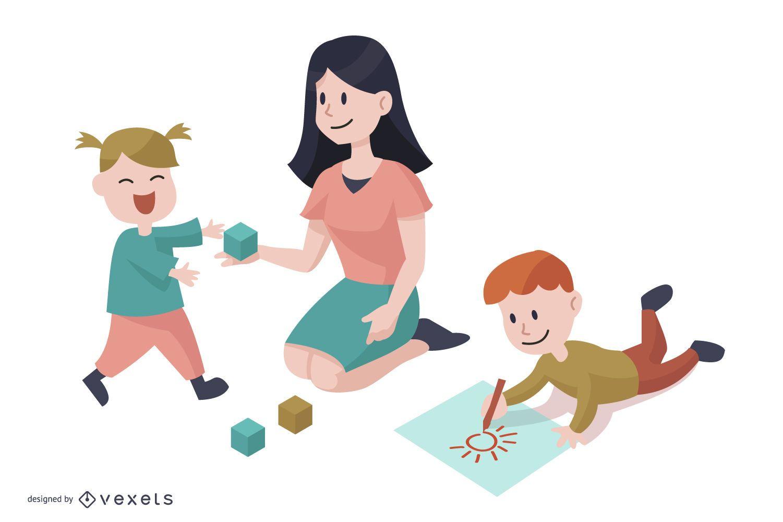 Kindergarten Charaktere Cartoon