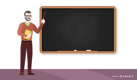 Ilustración de maestro y pizarra