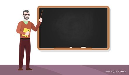Teacher and chalkboard illustration