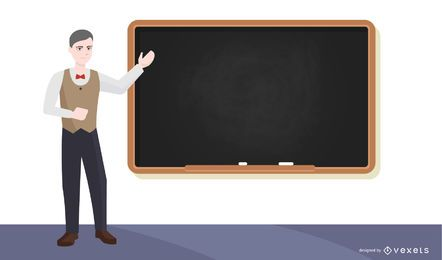 Profesor presentando ilustración