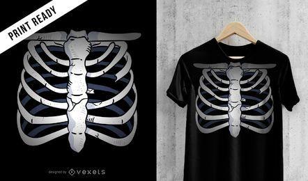 Diseño de camiseta de esqueleto de pecho.