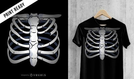 Diseño de camiseta esqueleto pecho.