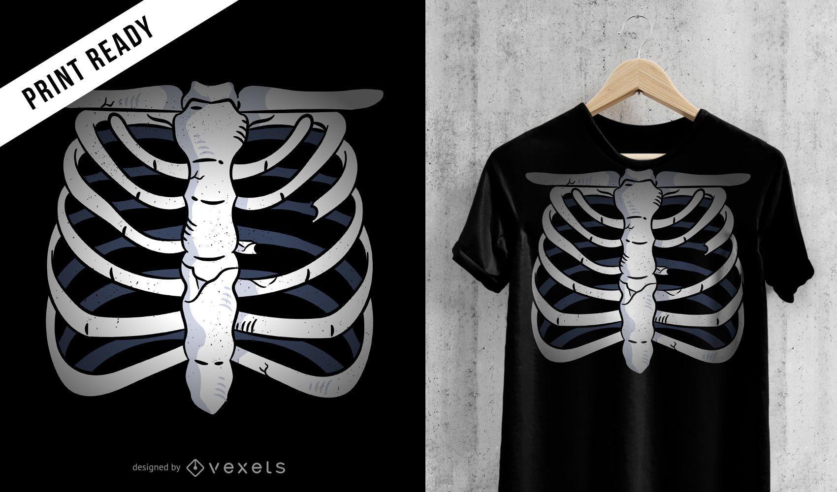 Desenho de t-shirt de esqueleto de peito