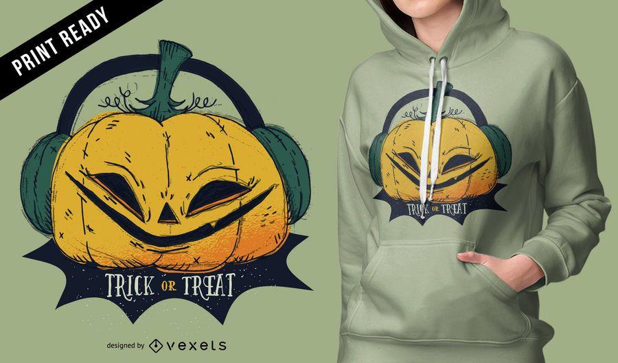 Diseño de camiseta de calabaza de halloween.