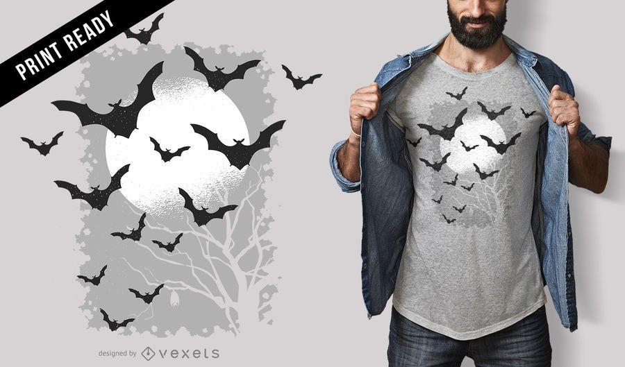 Diseño de camiseta de murciélagos