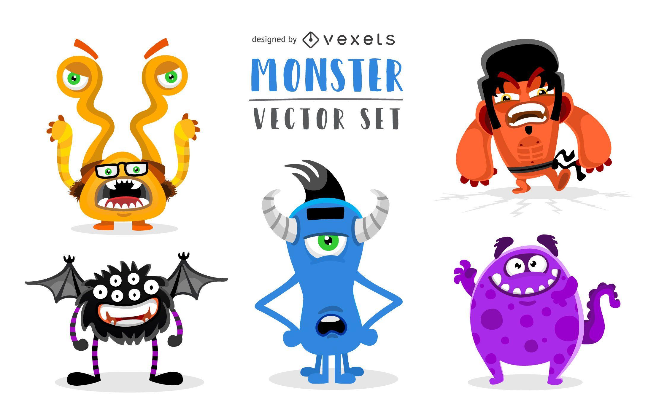 Conjunto de vector de monstruo divertido