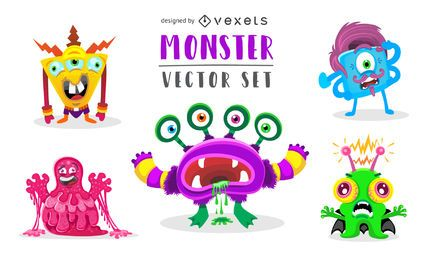 Funny weird monster illustration set
