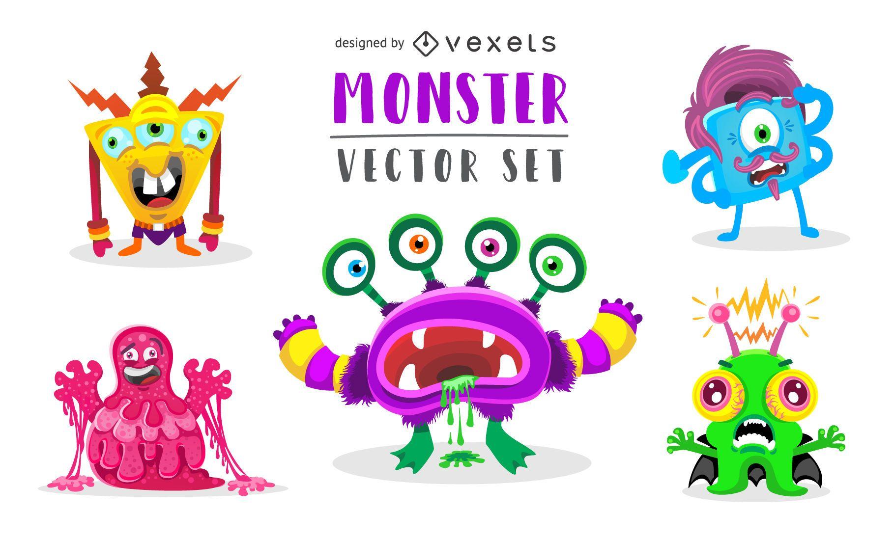 Conjunto de ilustración de monstruo extraño divertido
