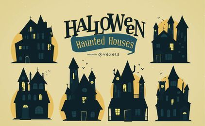 Spooky Halloween houses set