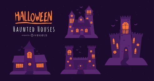 Dia das Bruxas assombrado conjunto de casas