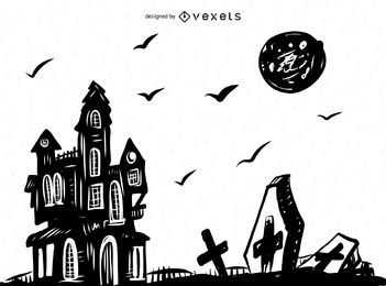 Spooky Halloween background drawing