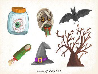 Halloween-Illustrationssatz