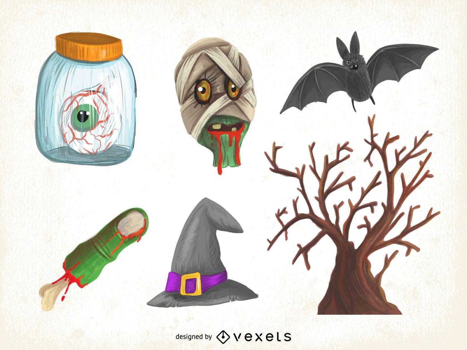 Conjunto de ilustración de Halloween