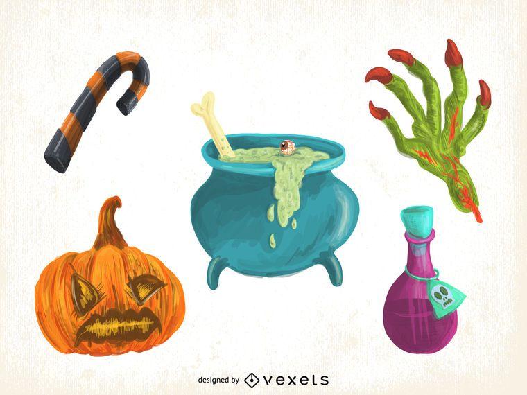 Conjunto de elementos de dibujos animados de Halloween - Descargar ...