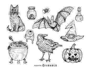 Conjunto de ilustração de Halloween de mão desenhada