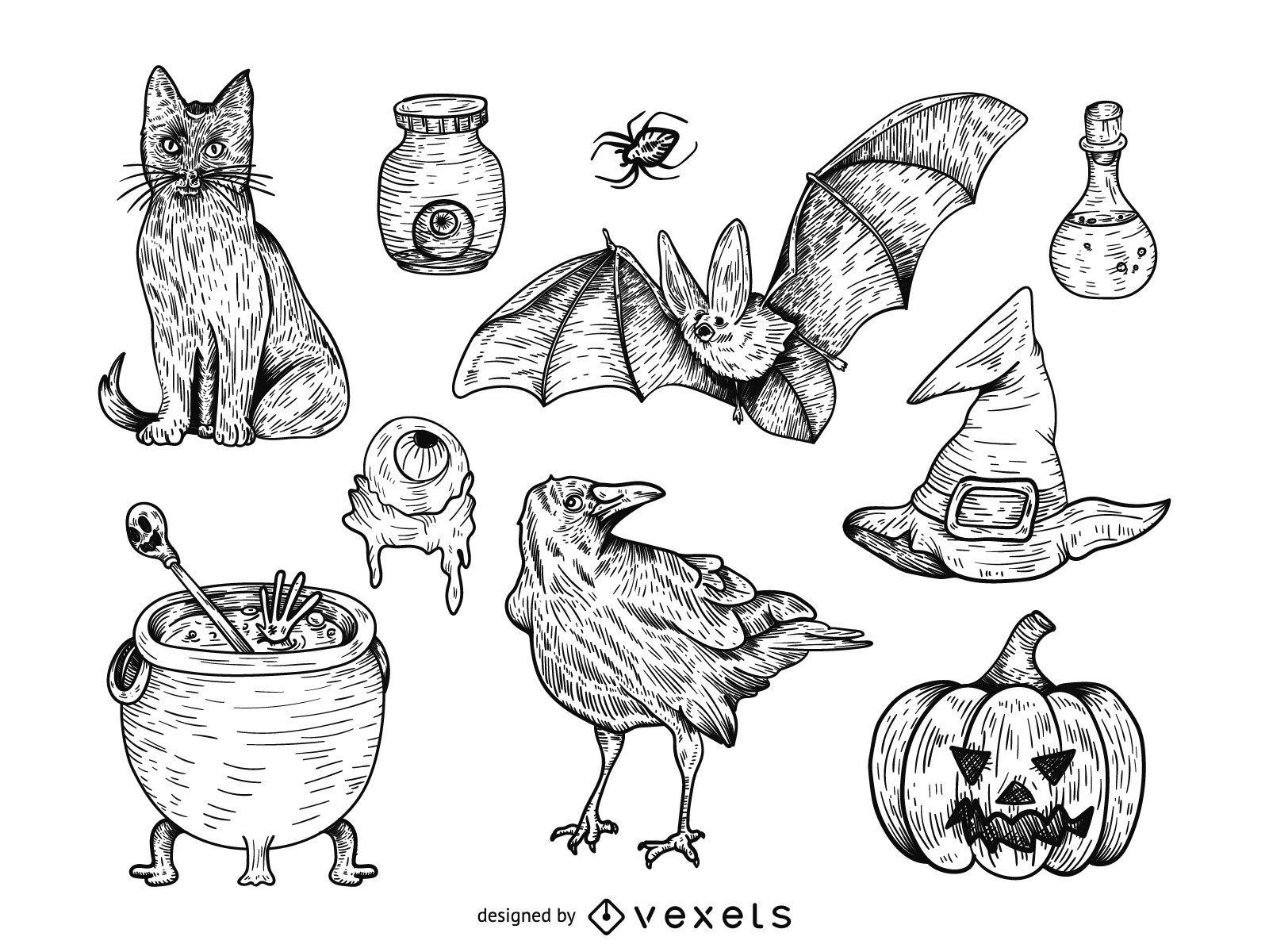 Dibujado a mano conjunto de ilustraci?n de Halloween